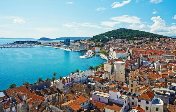 Picture sea, shore, home, boats, Croatia, piers, Split