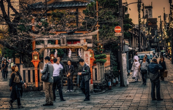 Picture people, Japan, photographer, Kyoto, cars, street, life, restaurants, lampposts