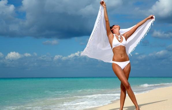 Picture Sand, Sea, Girl, Wave, Swimsuit, Foam