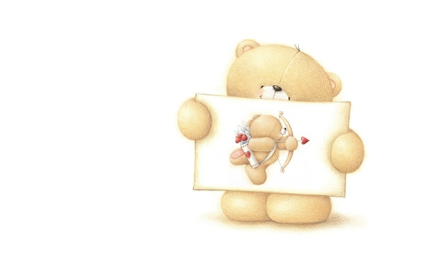 Picture mood, holiday, minimalism, art, bear, Valentine, recognition, Valentine's Day, children's, Forever Friends Deckchair bear, Cupid