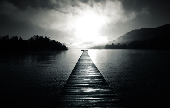 Picture water, trees, fog, lake, hills, Board, Marina, pier, pierce, black and white