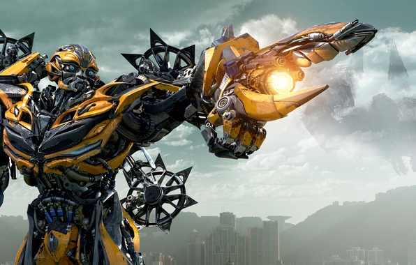 Picture the sky, yellow, clouds, the city, weapons, home, blade, gun, metal, Bumblebee, Michael Bay, Bumblebee, …