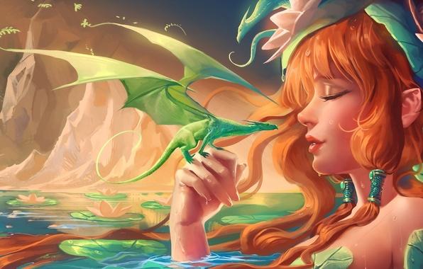 Picture girl, drops, pond, rocks, dragons, art, water lilies, sakimichan