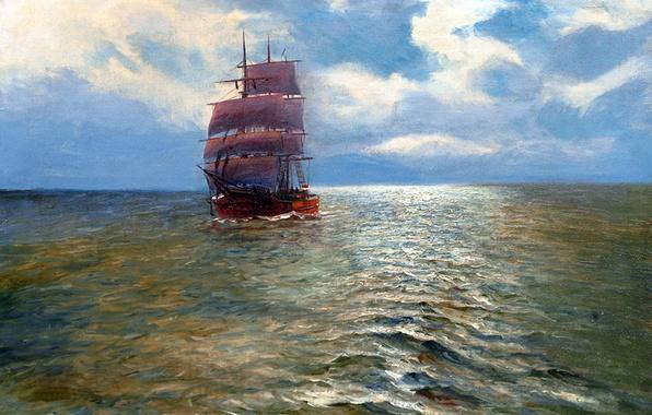 Picture sea, the sky, landscape, ship, picture, sails, Alfred Jansen