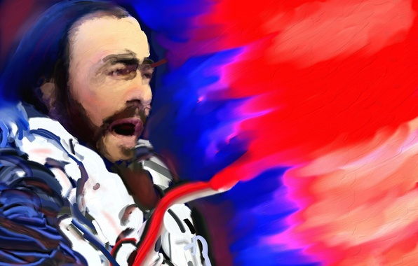 Picture music, painting, singer, Luciano Pavarotti, tenor