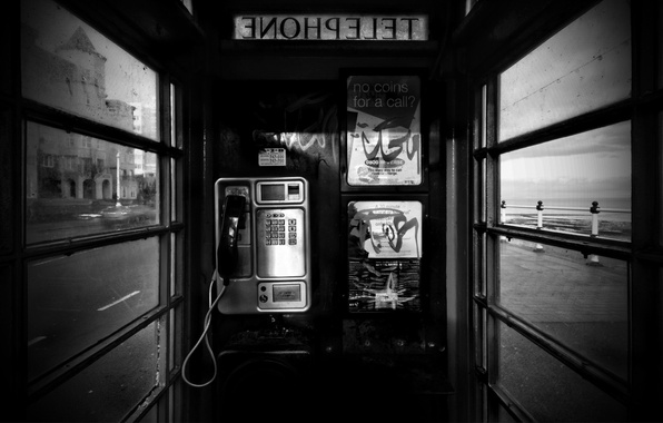 Picture black and white, phone, 157, booth