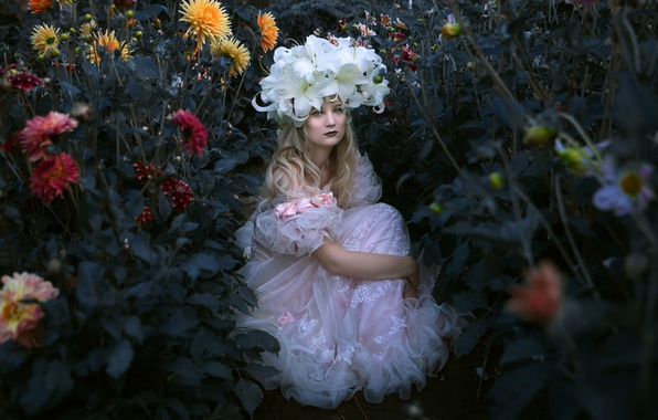 Picture girl, flowers, mood, Lily, dress, wreath, dahlias, Holly Brown