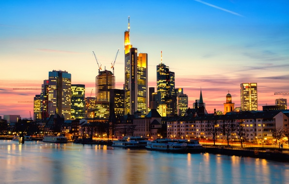 Picture sunset, the city, lights, river, home, skyscrapers, the evening, Germany, Germany, skyscrapers, Frankfurt am main, …