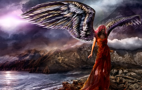 Picture sea, the sky, water, girl, mountains, clouds, fiction, the ocean, rocks, wings, angel, red dress, ...