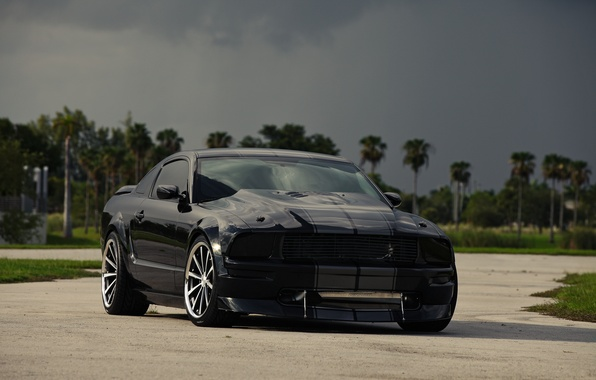 Picture the sky, clouds, black, mustang, Mustang, ford, drives, black, Ford, front view, tinted
