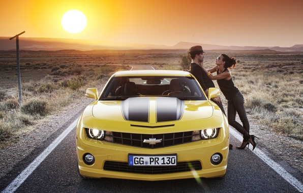 Picture road, girl, the sun, landscape, nature, Wallpaper, mountain, brunette, guy, 2012, Chevrolet, camaro, chevrolet, wallpapers, ...