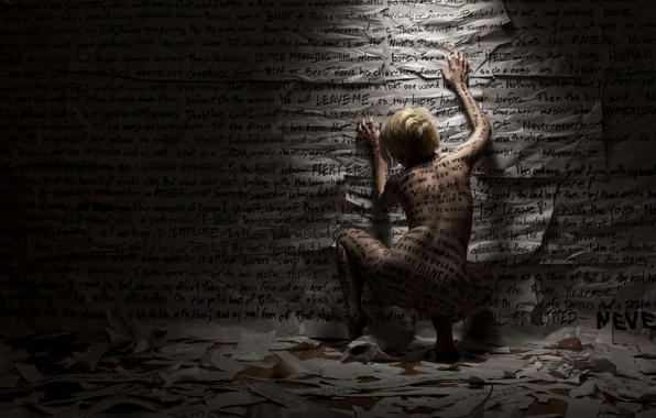 Picture girl, paper, labels, emotions, wall, back