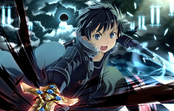 Picture abstraction, weapons, the moon, sword, art, guy, checkerboard, Sword Art Online