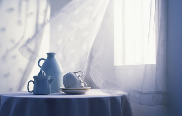 Picture light, table, room, interior, window, Cup, dishes, white, curtain