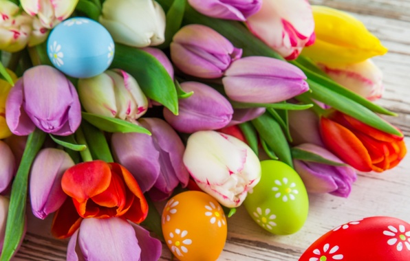 Picture flowers, eggs, bouquet, Easter, tulips, flowers, Easter, eggs