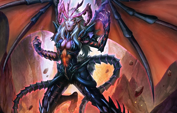 Picture girl, magic, wings, sparks, claws, lava, The demon, the rift