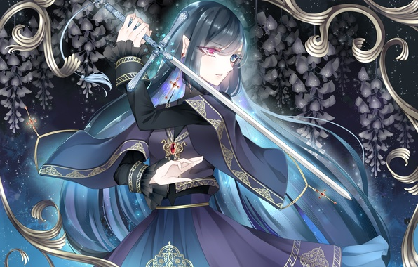 Picture Girl, cross, sword, earring, different eyes, Wisteria, Wisteria
