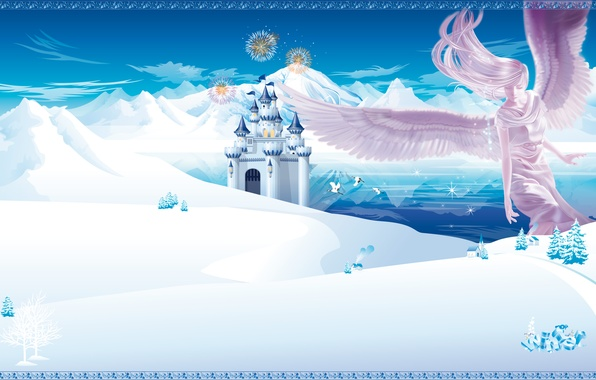Picture winter, mountains, castle, angel, anime