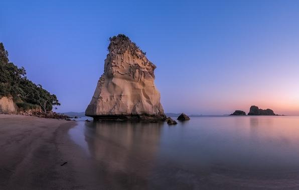 Picture sea, the sky, sunset, rock, shore, tide