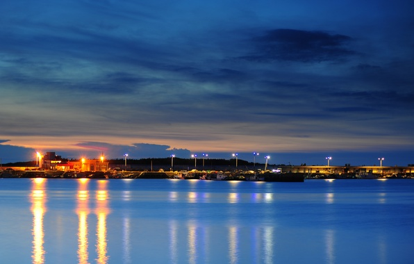 Picture the sky, clouds, sunset, orange, Strait, blue, the evening, lighting, port, lights, Taiwan, town, twilight