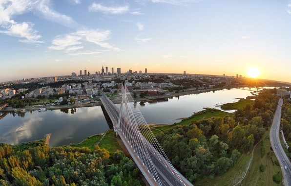 Picture road, forest, the sky, the sun, trees, sunset, bridge, the city, river, home, horizon, support, …
