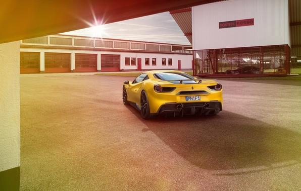 Picture auto, yellow, Ferrari, Ferrari, rear view, Rosso, Novitec, 488 GTB