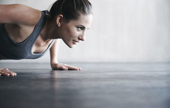 Picture woman, workout, fitness, pushups