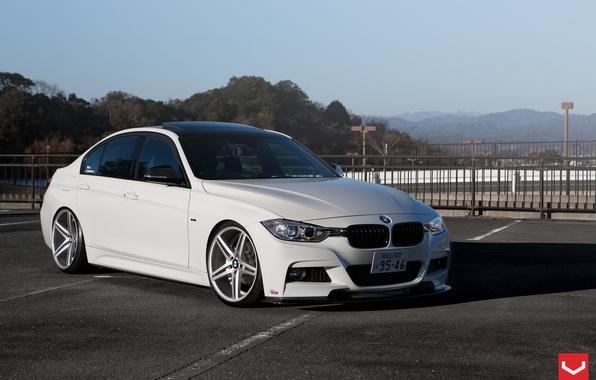 Picture car, bmw, white, tuning, vossen, 3 Series, f30, Vossen Wheels