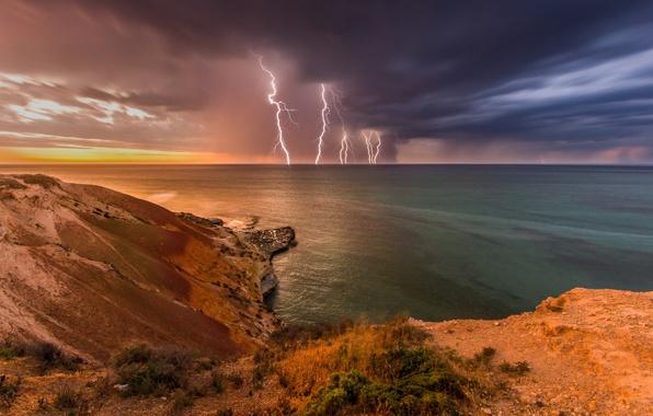 Picture the storm, wave, rocks, shore, lightning, Australia, light, storm, beach, ocean, landscape, nature, lightning, pentax, …