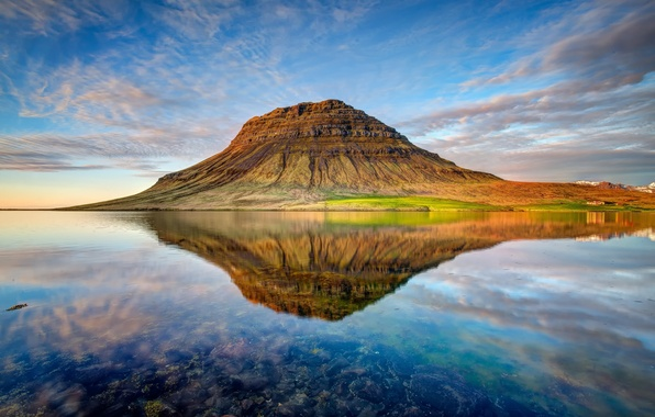Picture clouds, sunset, nature, lake, reflection, mountain, the volcano, Iceland, Kirkjufell