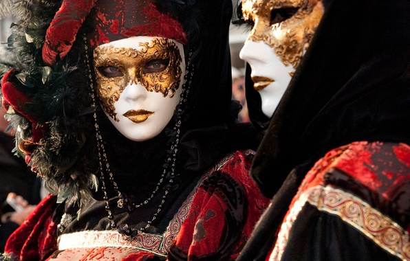 Photo wallpaper city, man, Venice, mask, carnival, holuday
