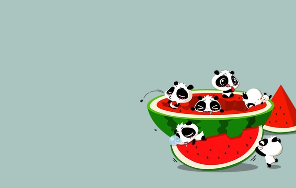 Picture the situation, anime, watermelon, art, Panda