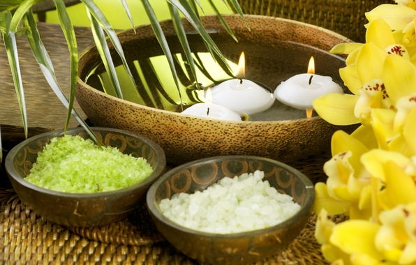 Picture flowers, candles, bowl, orchids, flowers, candles, orchids, bowl, sea salt, sea salt