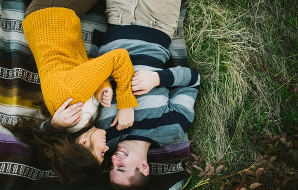 Picture leaves, girl, love, joy, happiness, nature, smile, background, Wallpaper, laughter, brunette, pair, male, love, guy, …