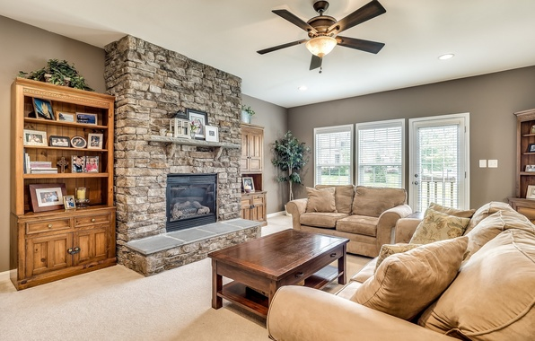 Picture design, sofa, fireplace, living room