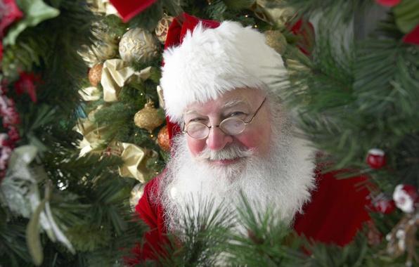 Picture decoration, childhood, smile, mood, holiday, balls, new year, tree, Santa Claus, Santa