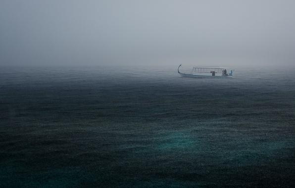 Picture sea, the storm, rain, boat