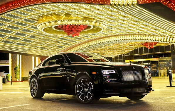 Photo wallpaper car, light, lights, reflection, Rolls-Royce, car, luxury, beautiful, the front, luxury, rolls-Royce, Wraith, Black Badge