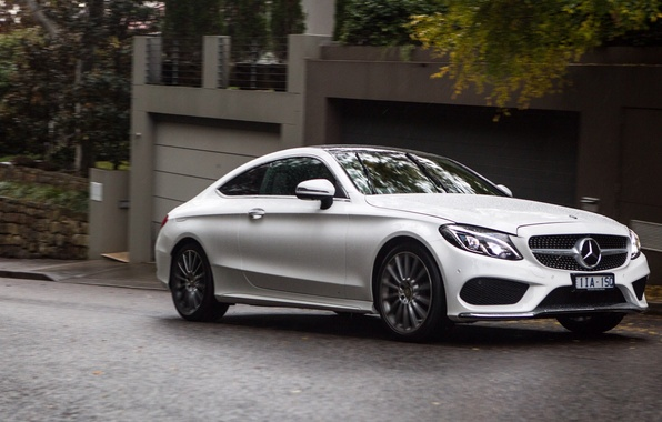 Picture car, machine, Mercedes-Benz, white, white, Mercedes, Coupe, the front, C 300, AMG line