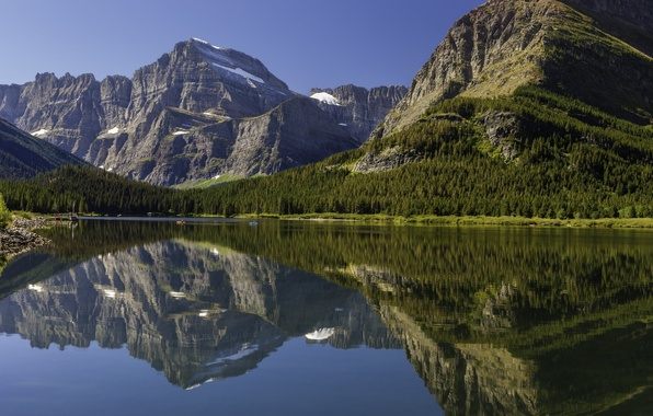 Picture forest, landscape, mountains, nature, lake, reflection, Canada