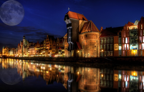 Picture river, home, Poland, Gdansk, architectural night, moon.
