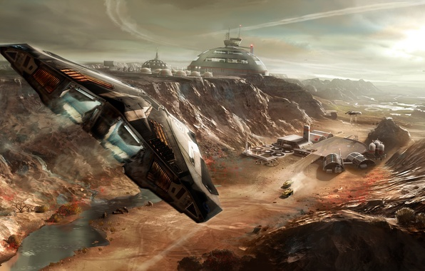 Picture landscape, fiction, the game, ship, station, base, flight, starship, Elite Dangerous, space simulator