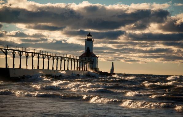 Picture sea, wave, storm, shore, lighthouse
