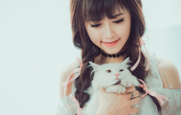 Picture cat, cat, girl, smile, mood, Asian