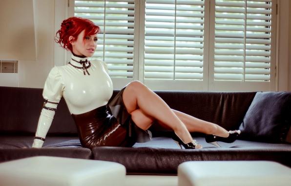 Picture girl, sofa, latex, red, girl, Bianca Beauchamp, sitting, model, Beautiful, attractive, heels, latex