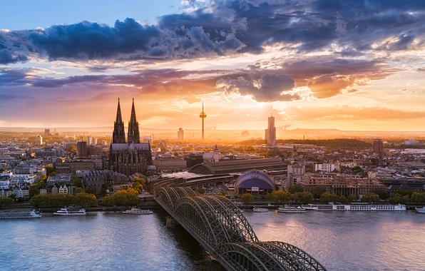Picture the sky, clouds, bridge, the city, river, Germany, Cologne Cathedral, Cologne