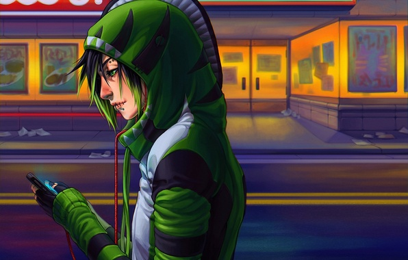 Picture music, headphones, art, player, hood, profile, guy