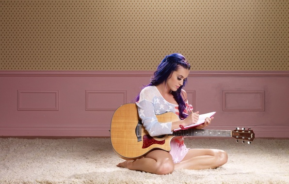 Picture girl, music, guitar, singer, celebrity, katy perry, Katy Perry, diary