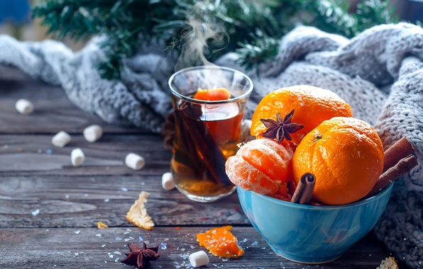 Picture comfort, heat, tea, scarf, New Year, Christmas, cinnamon, Christmas, New Year, Xmas, tangerines, Merry, Yuliya …