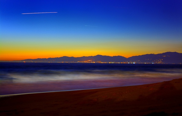 Picture sea, the sky, mountains, the city, lights, the evening, USA, Santa Monica